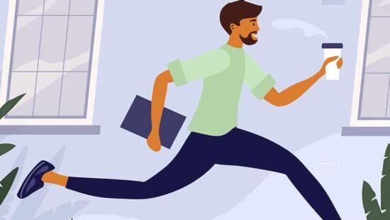 Illustration eines rennenden Mannes mit Laptop und Kaffee